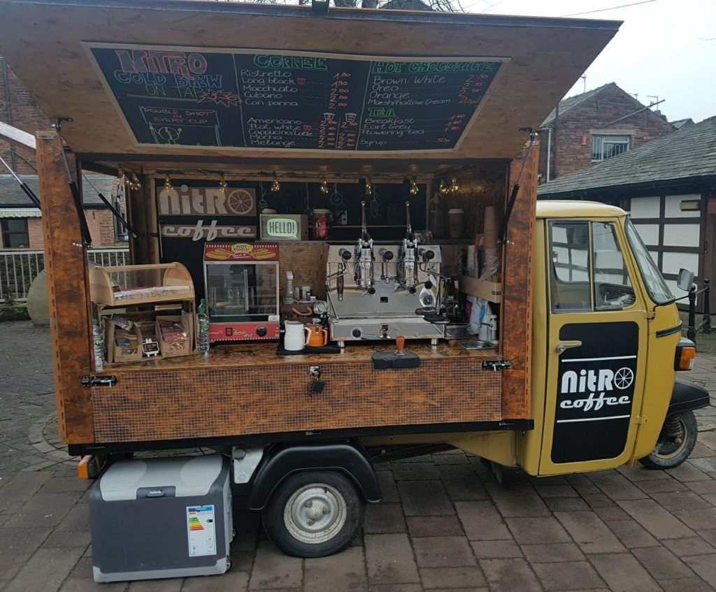 Piagio Ape, converted into a mobile coffee vendor.