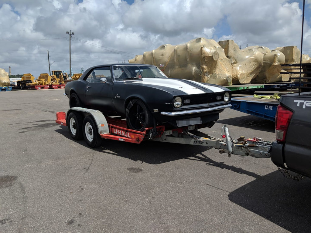 Chevrolet Camaro on arrival in Jacksonville, USA. Car shipping UK to USA - Autoshippers