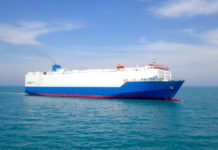 Large RoRo (Roll on/off) Car Shipping Vehicle carrier vessel cruising the Mediterranean sea