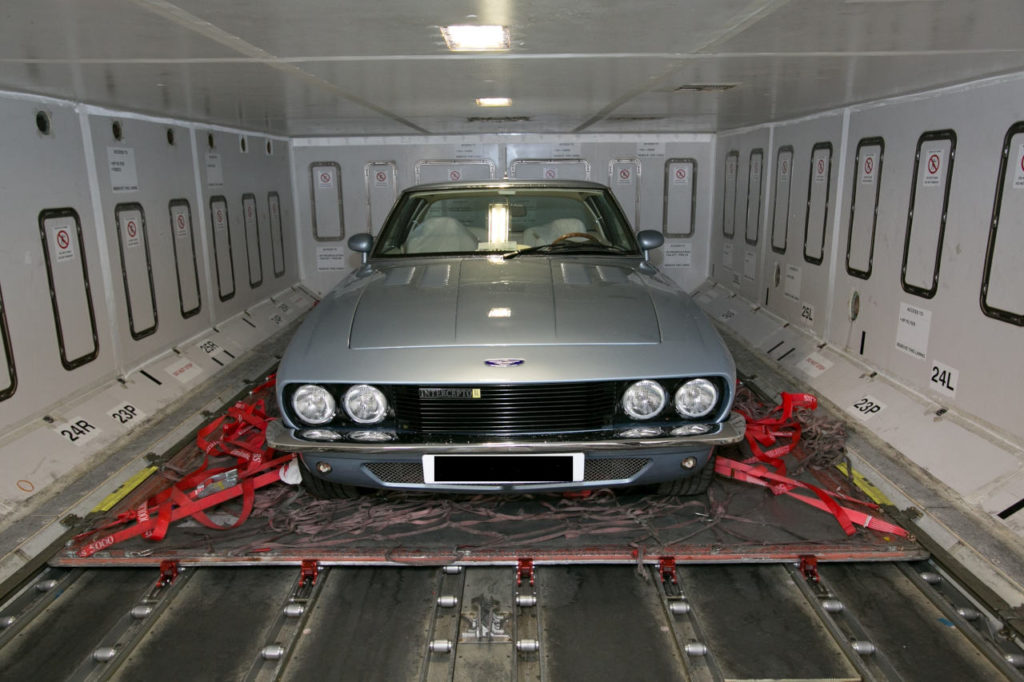 Jensen in aircraft hold - car shipping - autoshippers