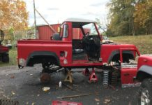 Restoring a classic Land Rover Defender 90 that was shipped to Las Vegas, USA by Autoshippers car shipping