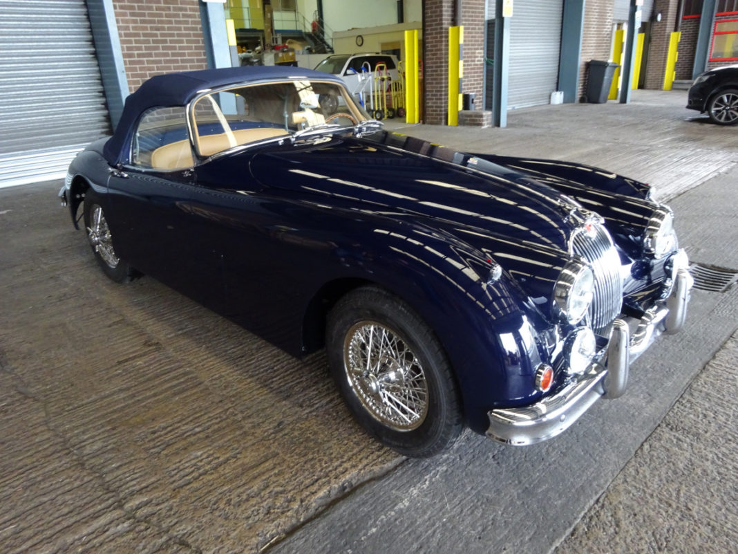 Jaguar XK150 prior to loading - Autoshippers classic car shipping