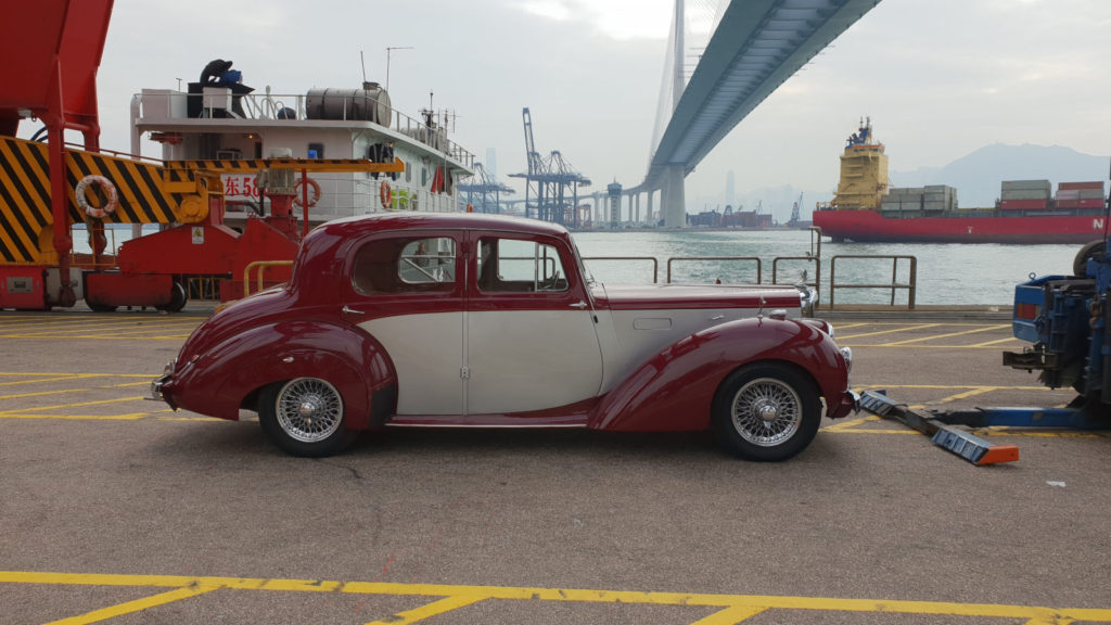 Alvis TA21 Saloon at the docks prior to shipping - shipped by Autoshippers