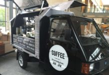 Piaggio Ape Converted into a coffee shop. Source: www.thebigcoffee.com