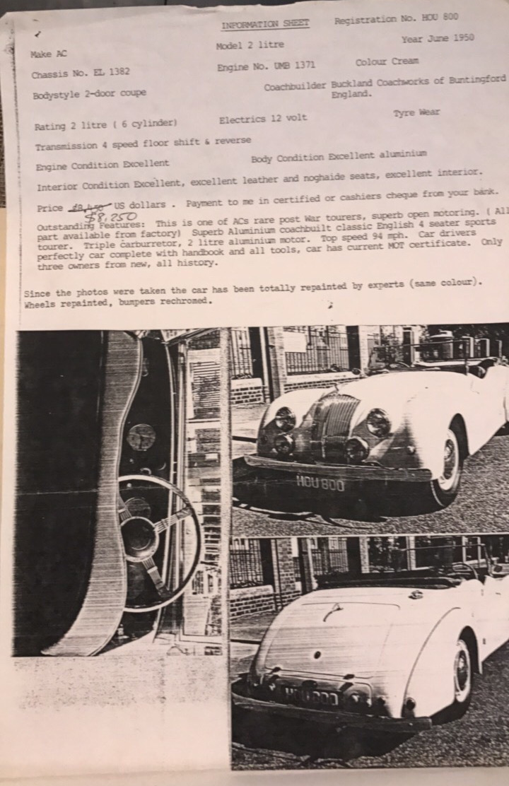 The original flyer advertisement from which Dr Nashold purchased the car.