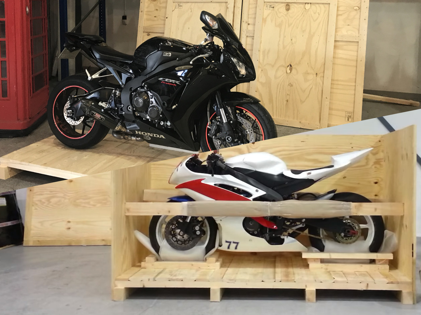 Crating a motorbike for overseas shipping